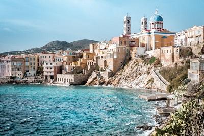 Das Postkartenmotiv der Insel Syros